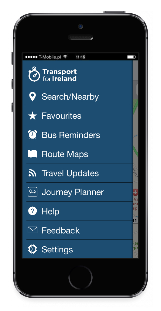 Image of iPhone with TFI Real Time Ireland app open and showing menu.