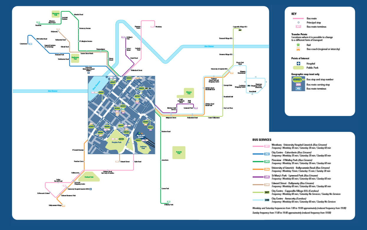 London City Bus Map.Limericktransport Info Route Summary Map Bus Services In Limerick City