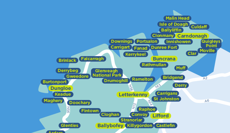 Donegal TFI local link bus services map