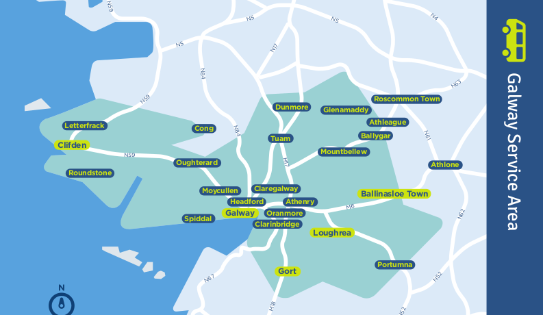 Galway TFI local link bus services map
